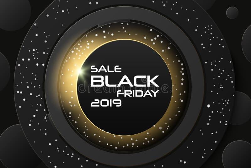 黑星期五销售海报 商业折扣事件横幅 与跨步的几何纸的黑抽象背景 库存例证