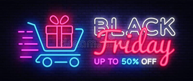 黑星期五销售霓虹文本传染媒介设计模板 黑星期五销售霓虹商标,五颜六色轻的横幅设计的元素 库存例证