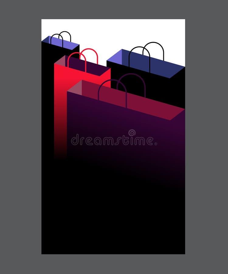 黑星期五销售题字设计模板 购物带来背景 库存例证