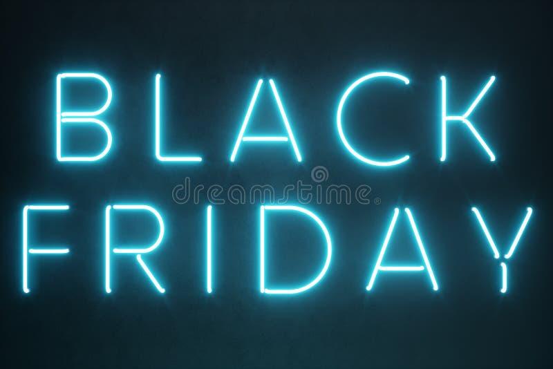 黑星期五-年的期望的销售 霓虹蓝色3D横幅 盛大折扣 只每年一次,最大值 皇族释放例证