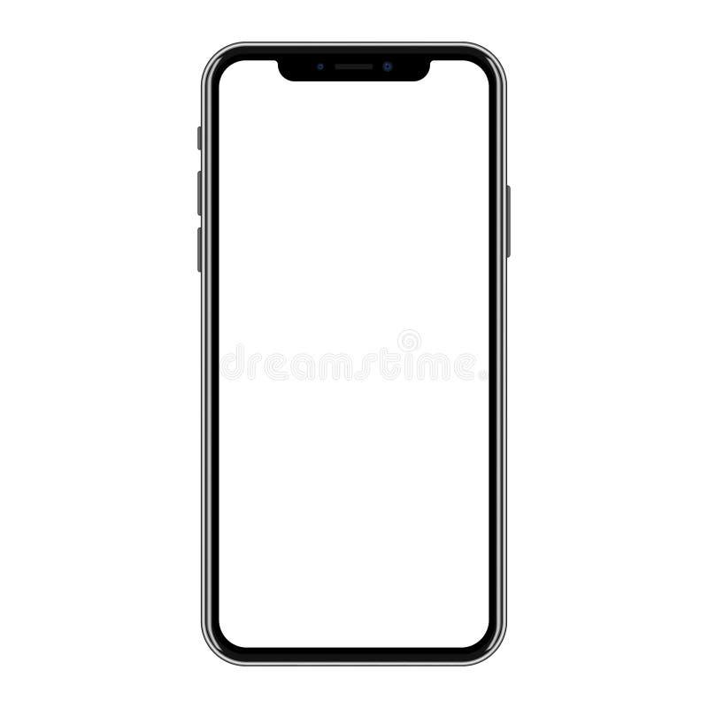 黑智能手机的新版本有空白的白色屏幕的 皇族释放例证