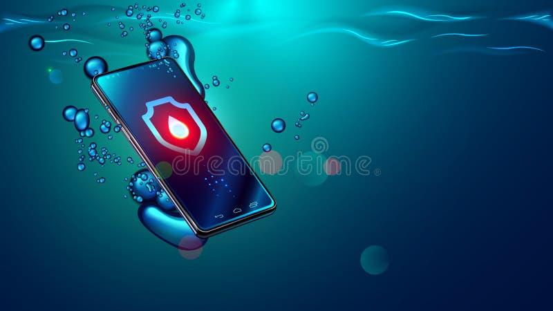 黑智能手机秋天在水中 流动智能手机下沉水下的表面 电子防水或水阻力电话 向量例证