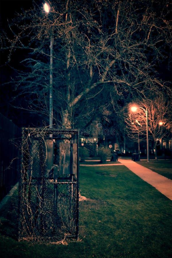 黑暗和令人毛骨悚然的公园在晚上 免版税库存照片
