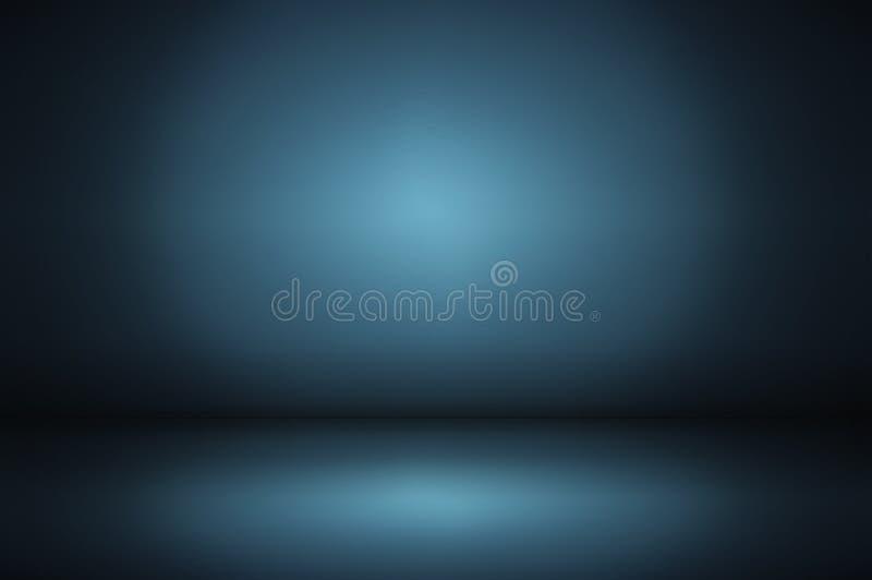 黑暗和软绵绵地蓝色抽象墙壁和演播室室梯度backg 皇族释放例证