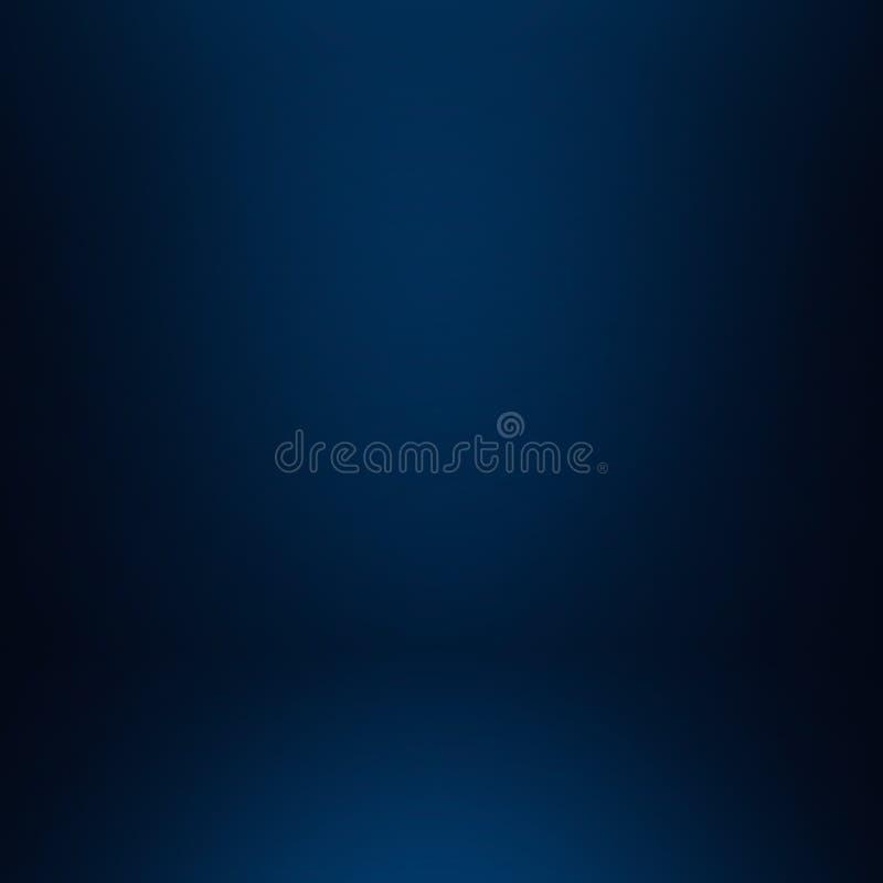 黑暗和软绵绵地蓝色抽象水泥墙壁和演播室室gradie 向量例证