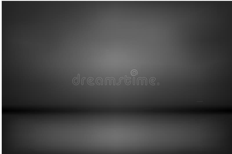 黑暗和黑梯度演播室和室背景传染媒介 向量例证