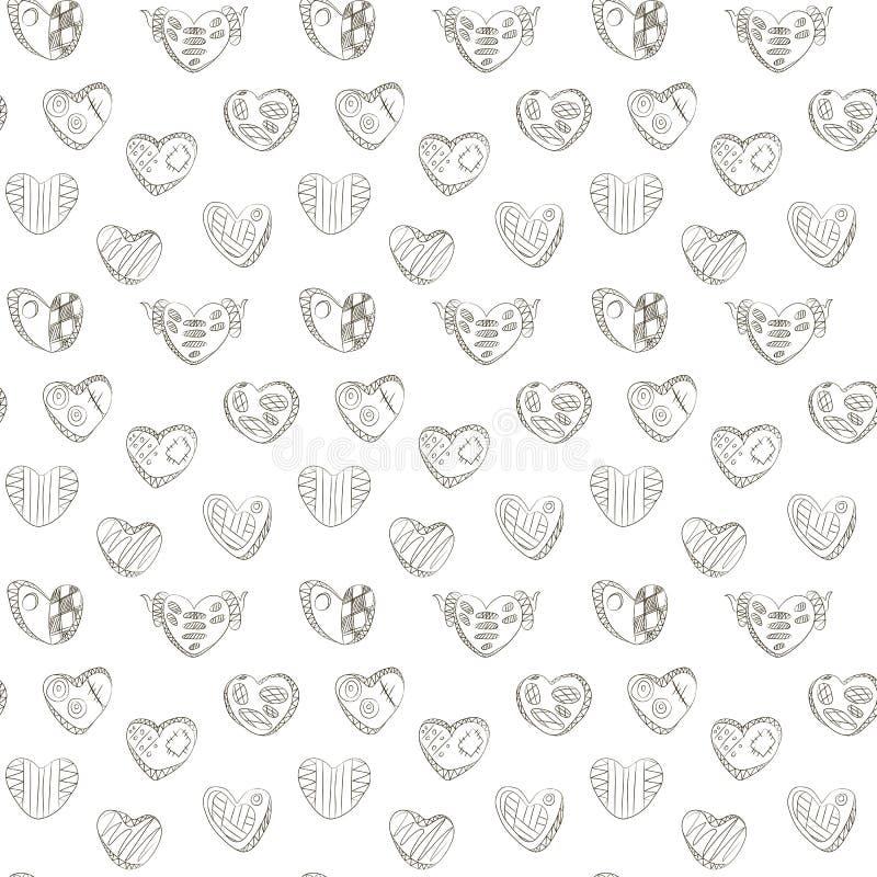 黑暗塑造外形与笼子、之字形和垫铁背景无缝的传染媒介样式的线性心脏从乱画手 向量例证