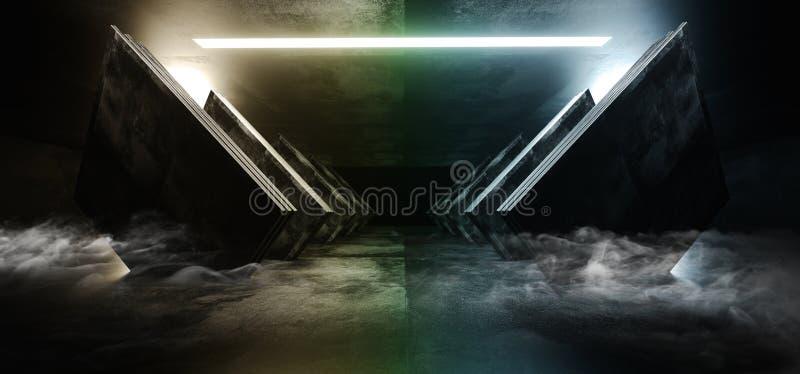黑暗烟霓虹彩虹发光的圈子科学幻想小说未来派真正太空飞船摘要三角光滑的金属混凝土的难看的东西倒空 皇族释放例证