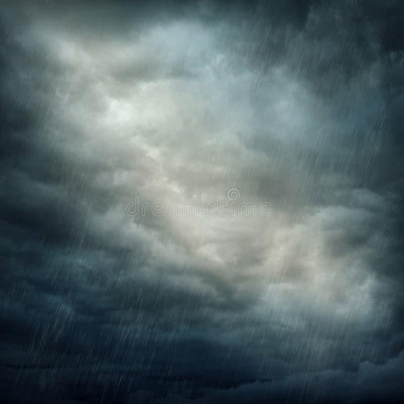 黑暗的云彩和雨 图库摄影
