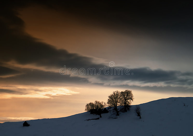 黑暗的冬天 免版税库存照片
