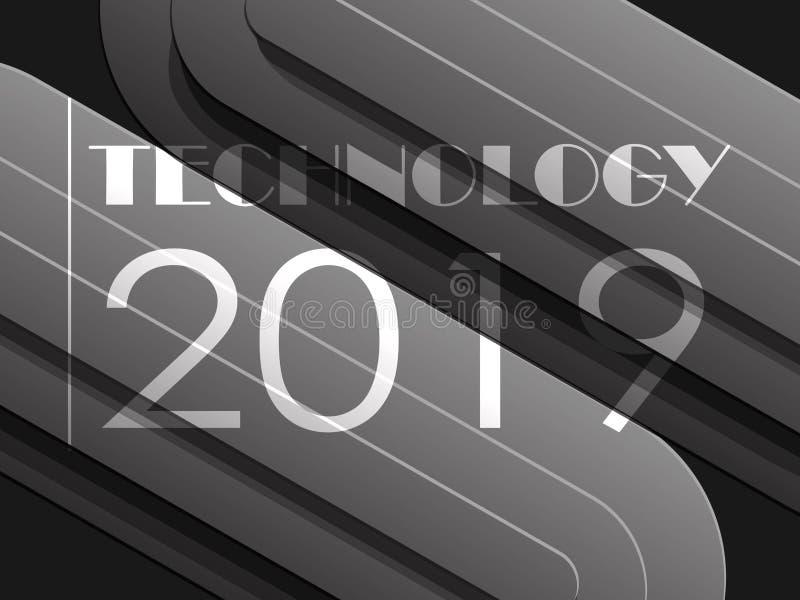 黑暗的几何techno背景光滑的线2019年 皇族释放例证