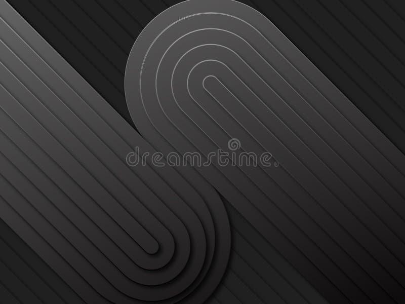 黑暗的几何techno背景光滑的线 皇族释放例证