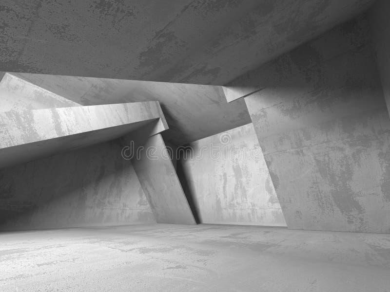 黑暗的地下室空的室内部 混凝土墙 向量例证