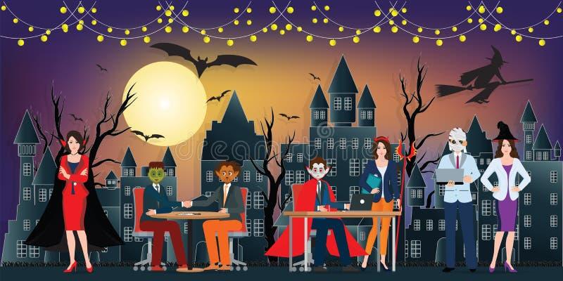 黑暗的夜万圣夜办公室聚会和满月在天空o 皇族释放例证
