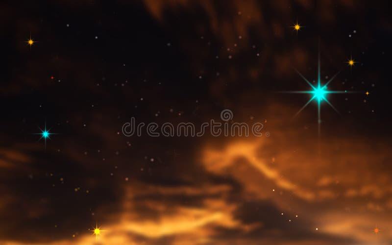 黑暗的天空的例证与星和热的看起来的橙色星云气体的 免版税库存照片