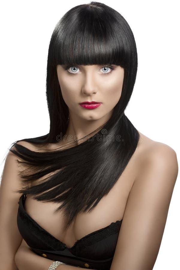 黑暗的女孩头发长的纵向轻微s轮 库存图片