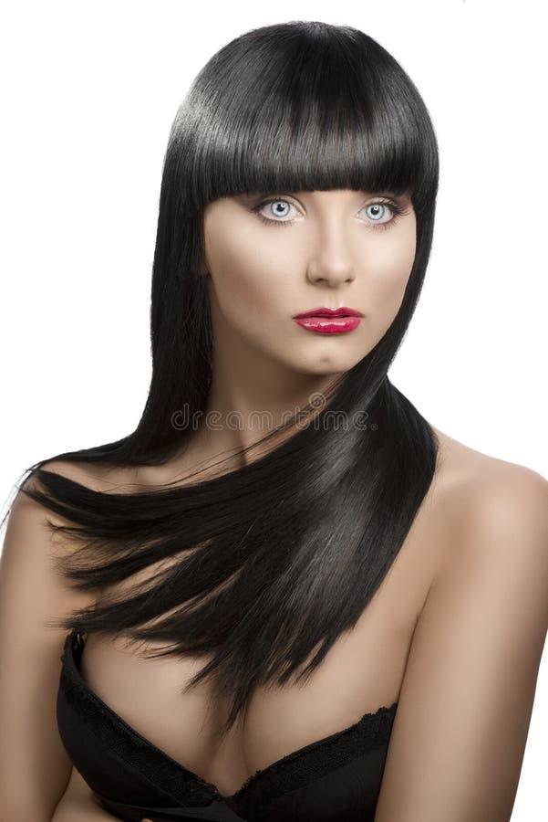 黑暗的女孩头发长的纵向轻微s轮 免版税库存照片