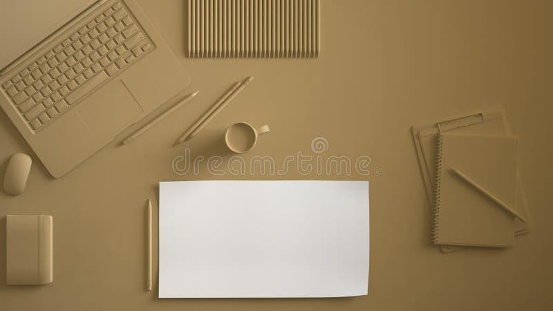 黑暗的奶油,淡色黄色单色最小的办公室桌书桌 与膝上型计算机、笔记本、铅笔和咖啡杯的工作区 平的位置, 皇族释放例证