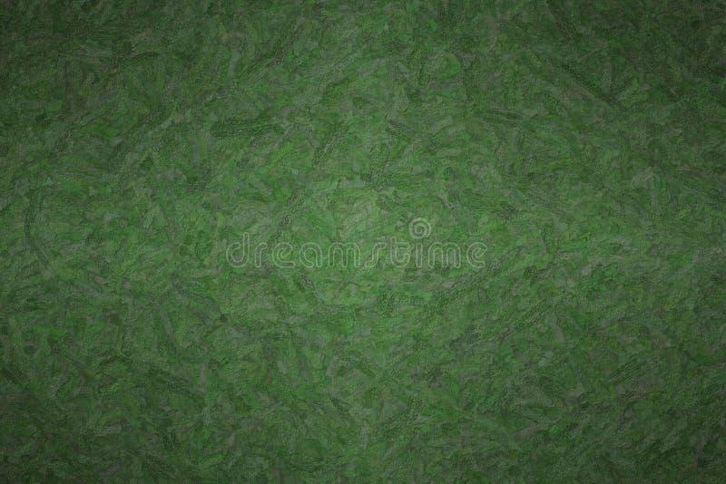 黑暗的密林绿色的抽象例证构造了Impasto背景,数位引起 库存图片