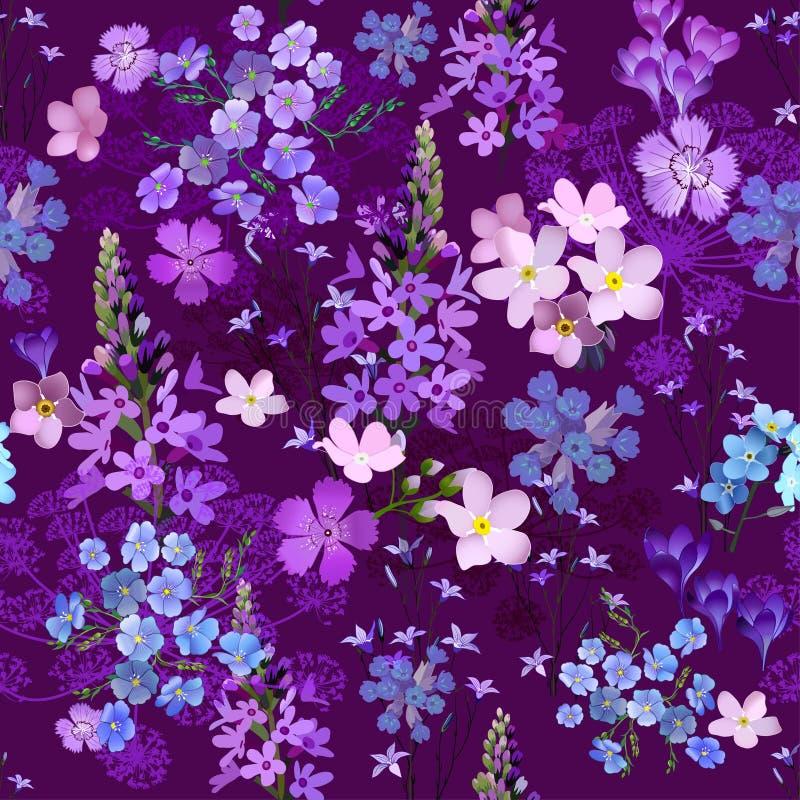 黑暗的庭院在晚上,在许多品种花卉季节性无缝的传染媒介样式,手绘画风格的充分的开花的野花为 免版税库存照片