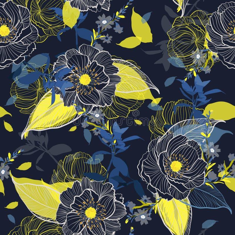 黑暗的庭院开花的植物的美好的手图画线弗洛尔 库存例证