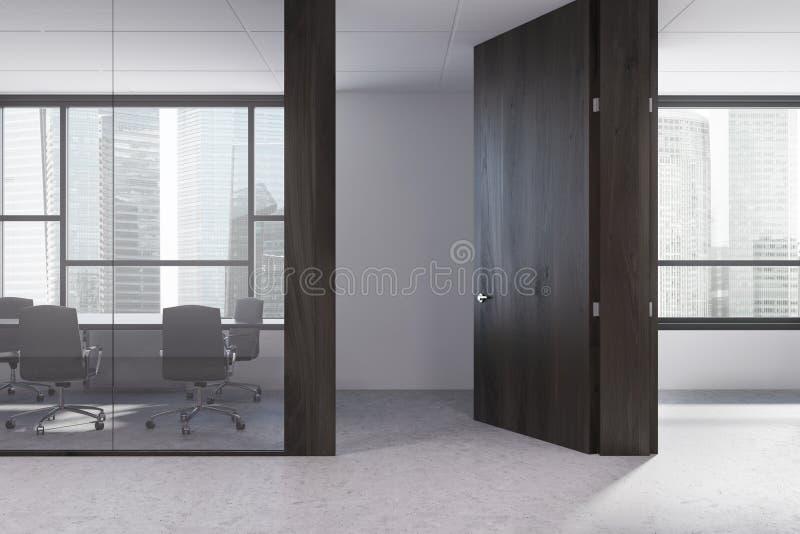 黑暗的木办公室会议室 皇族释放例证