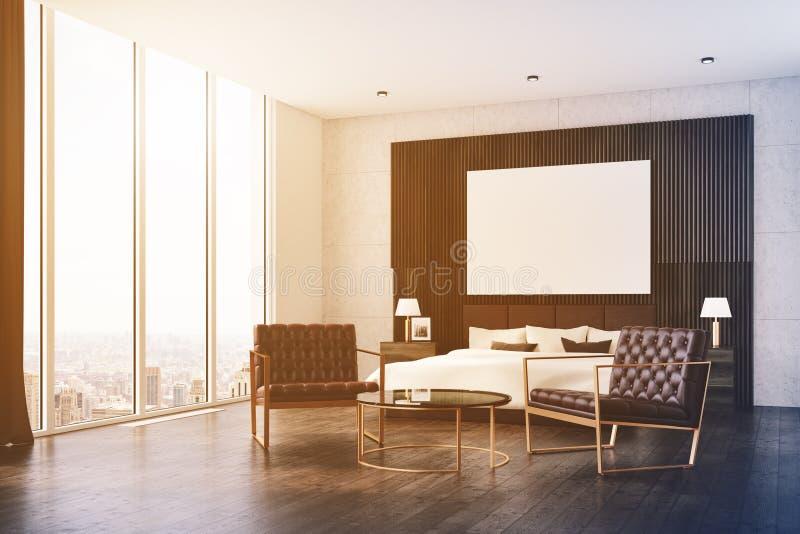 黑暗的木卧室,被定调子的海报边 向量例证