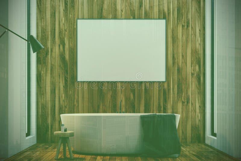 黑暗的木卫生间、被定调子的木盆和海报 皇族释放例证