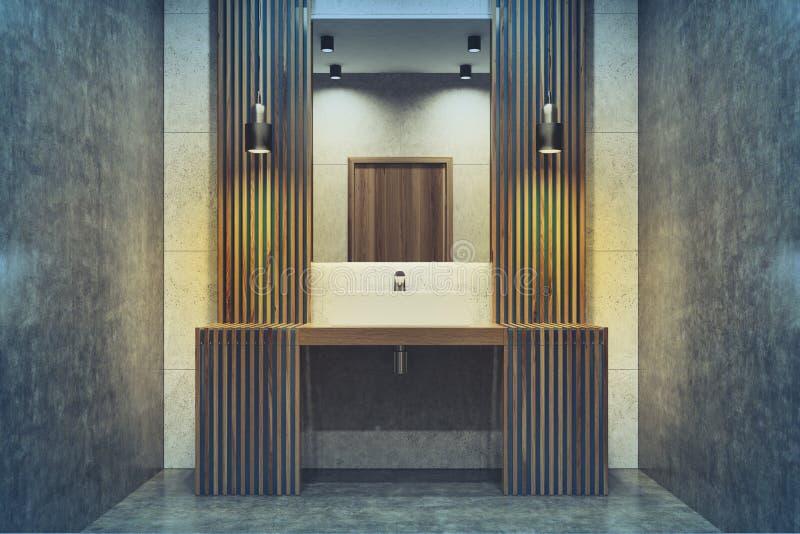 黑暗的木卫生间,水槽,被定调子的镜子 向量例证