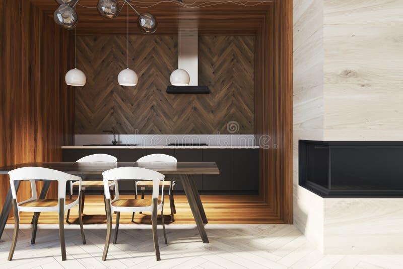 黑暗的木桌在一个木厨房里 皇族释放例证