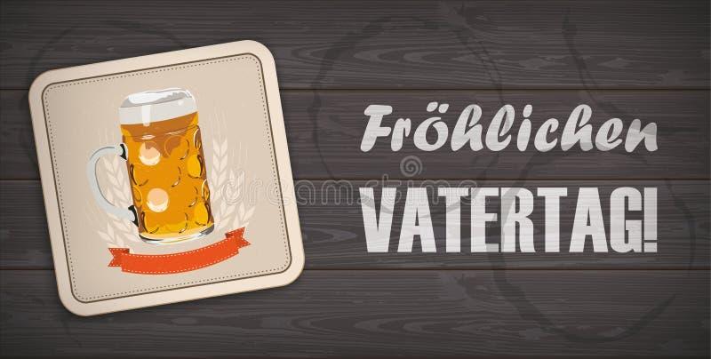 黑暗的木背景啤酒沿海航船Vatertag 向量例证