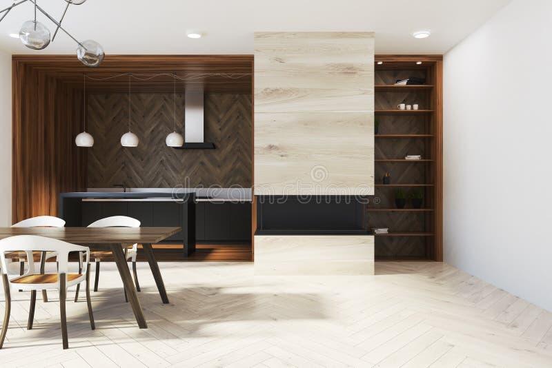 黑暗的木餐桌,设计椅子,碗柜 皇族释放例证