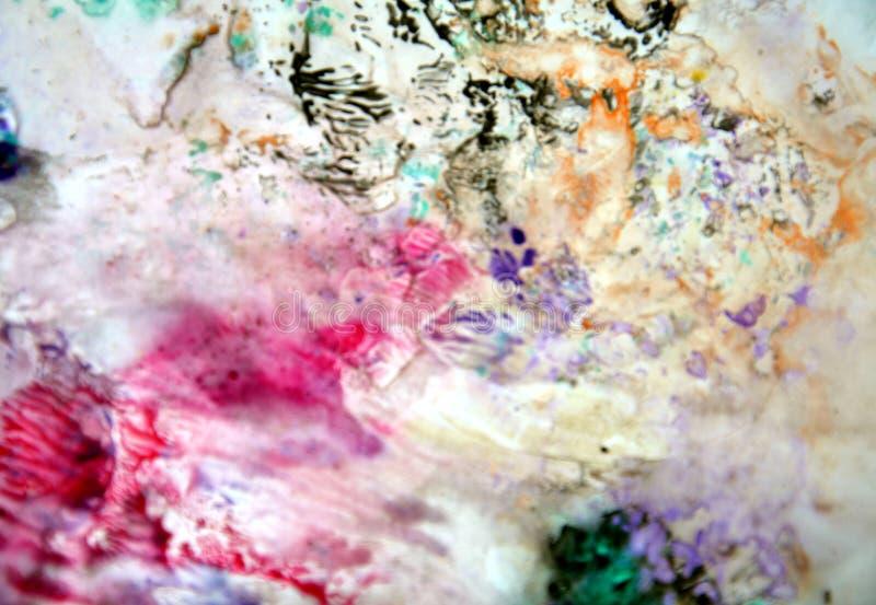 黑暗的桃红色灰色黑发烟性淡色,明亮的淡色油漆丙烯酸酯的水彩背景,五颜六色的纹理 图库摄影