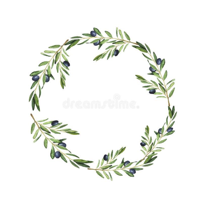 黑暗的橄榄树枝框架 额嘴装饰飞行例证图象其纸部分燕子水彩 向量例证