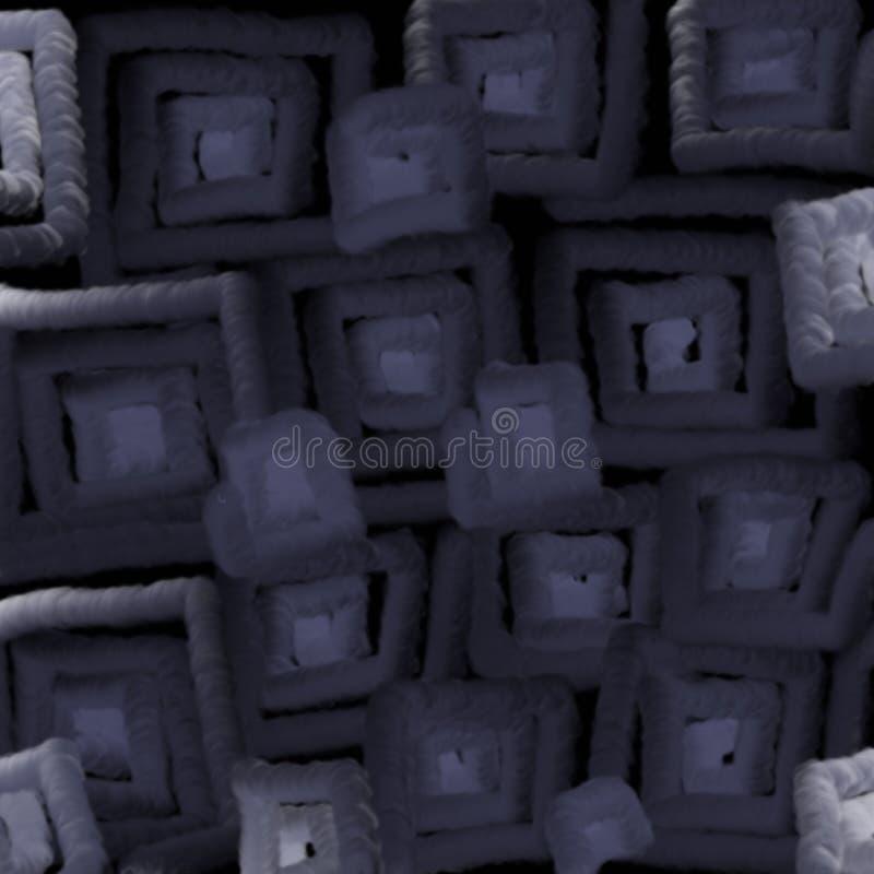 黑暗的正方形被弄脏的纹理点燃背景的抽象 3D柔光幻觉  皇族释放例证