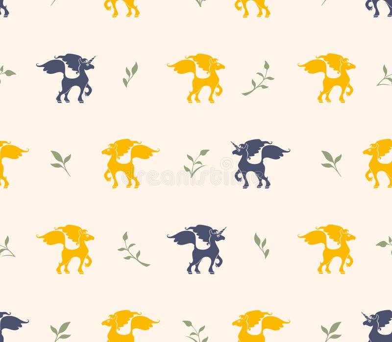 黑暗的独角兽和黄色马和绿色枝杈的无缝的样式在金黄米黄背景 皇族释放例证