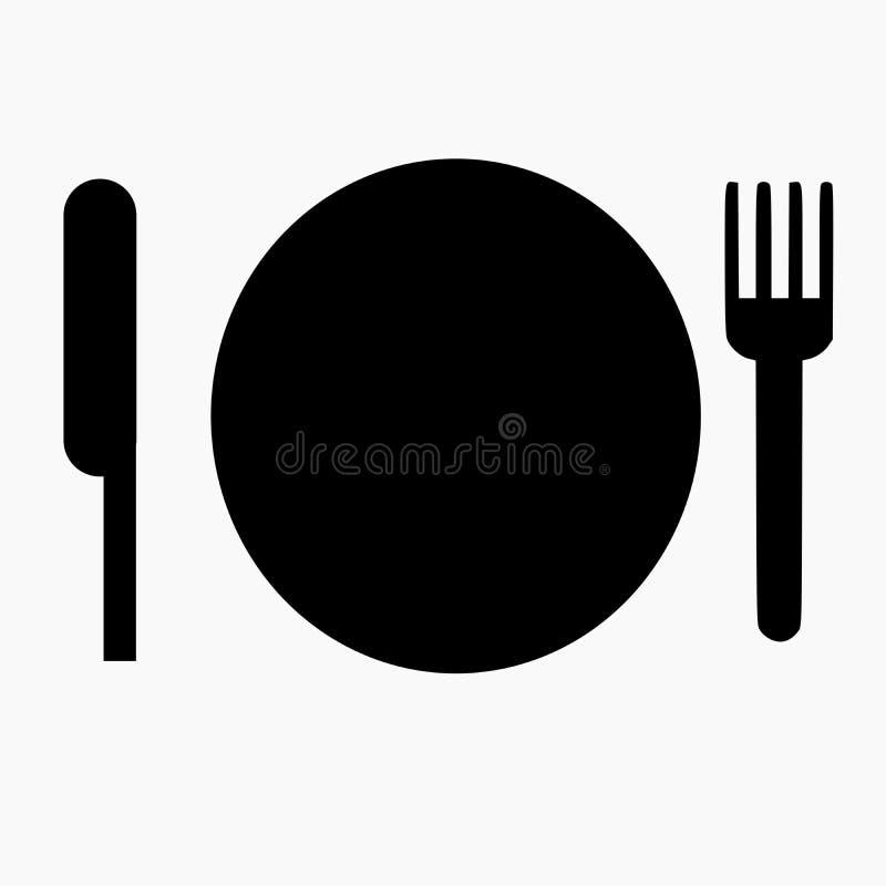 黑暗的用餐的象包括板材和叉子 库存例证