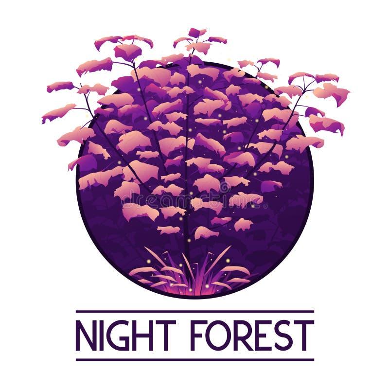 黑暗的神秘的紫罗兰色森林商标 库存例证