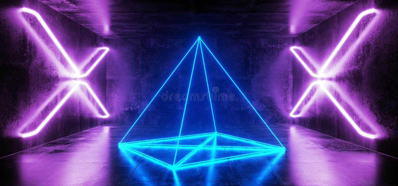 黑暗的科学幻想小说未来派虚拟现实阶段空的霍尔车库霍尔室隧道发光的激光霓虹萤光十字形 皇族释放例证