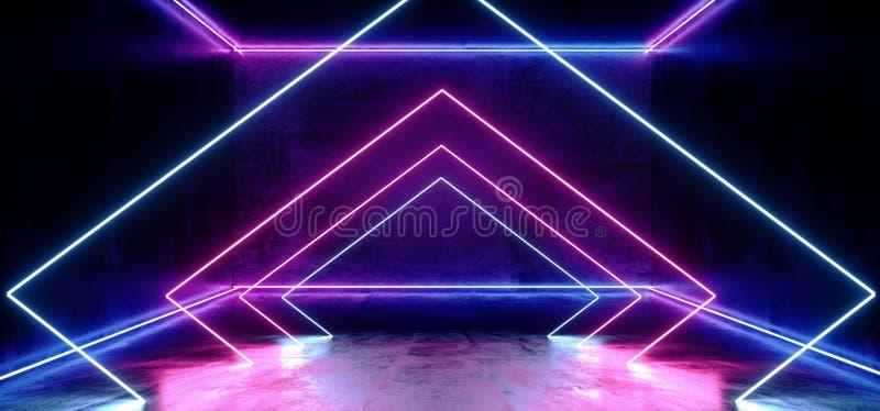 黑暗的空的真正充满活力的萤光霓虹发光的紫色蓝色三角线塑造了激光反射难看的东西混凝土室 向量例证