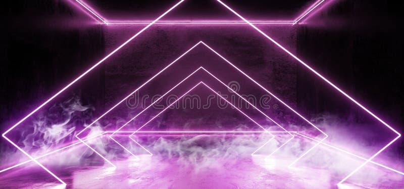 黑暗的空的真正充满活力的萤光霓虹发光的紫色蓝色三角线塑造了门阶段激光反射难看的东西 皇族释放例证