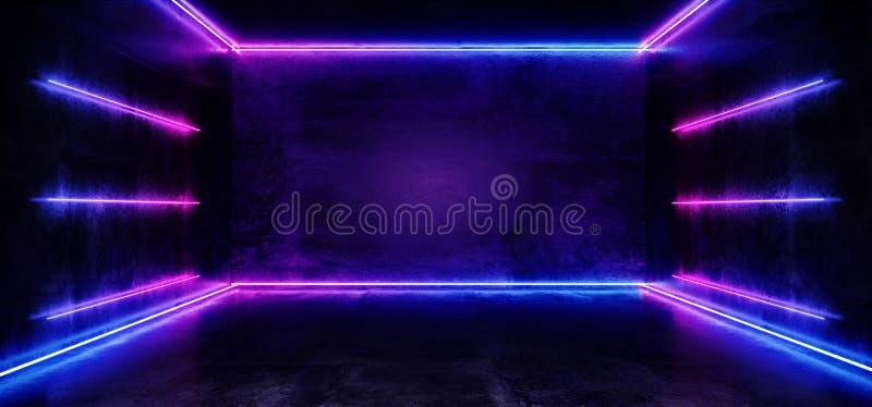 黑暗的空的真正充满活力的萤光霓虹发光的紫色蓝色垂直的水平线塑造了激光反射难看的东西 库存例证