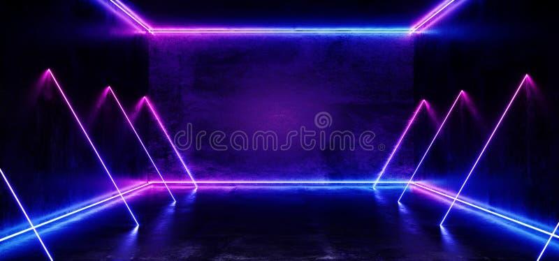 黑暗的空的真正充满活力的萤光霓虹发光的紫色蓝色垂直的水平线塑造了激光反射难看的东西 向量例证