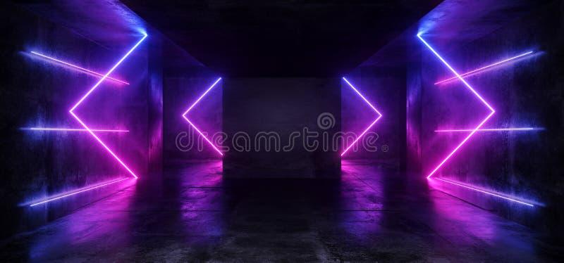 黑暗的空的真正充满活力的萤光霓虹发光的紫色蓝色箭头塑造了激光反射难看的东西粗砺混凝土的室 库存例证