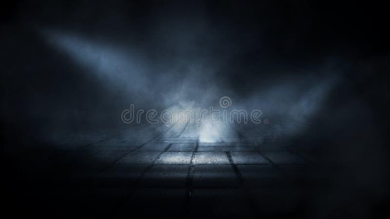 黑暗的空的阶段、街道、夜烟雾和烟,霓虹灯 夜城市的黑暗的背景,光在黑暗的 库存例证