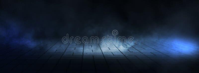 黑暗的空的阶段、街道、夜烟雾和烟,霓虹灯 夜城市的黑暗的背景,光在黑暗的 库存照片