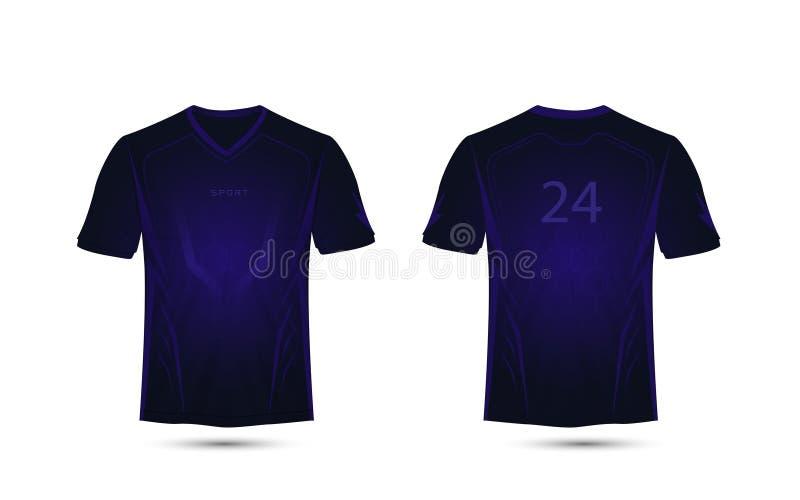 黑暗的紫色线布局 概念查出的技术白色 橄榄球体育T恤杉,成套工具,球衣,衬衣设计模板 库存例证