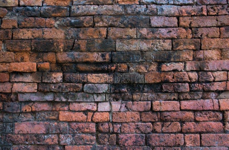 黑暗的老葡萄酒砖墙背景  o E 免版税库存照片