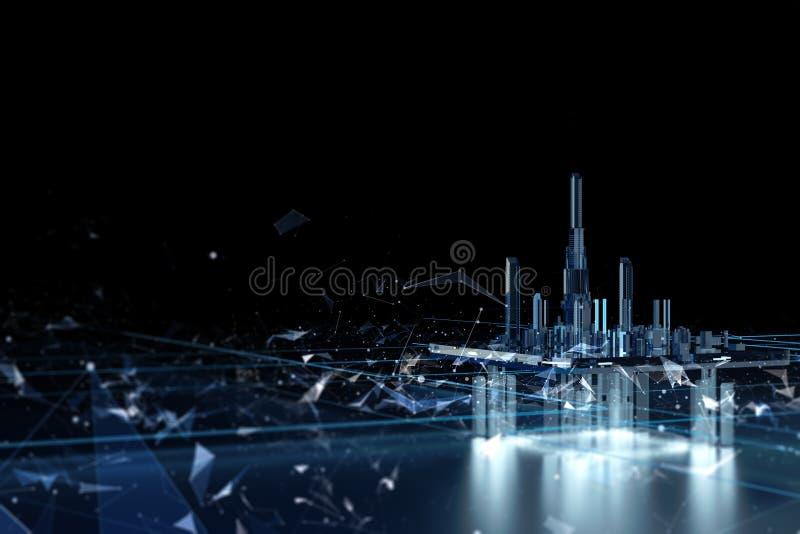 黑暗的背景的未来派城市 未来城市霓虹灯 向量例证