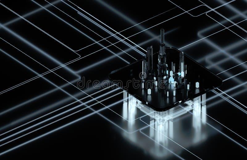 黑暗的背景的未来派城市 未来城市霓虹灯 免版税库存图片